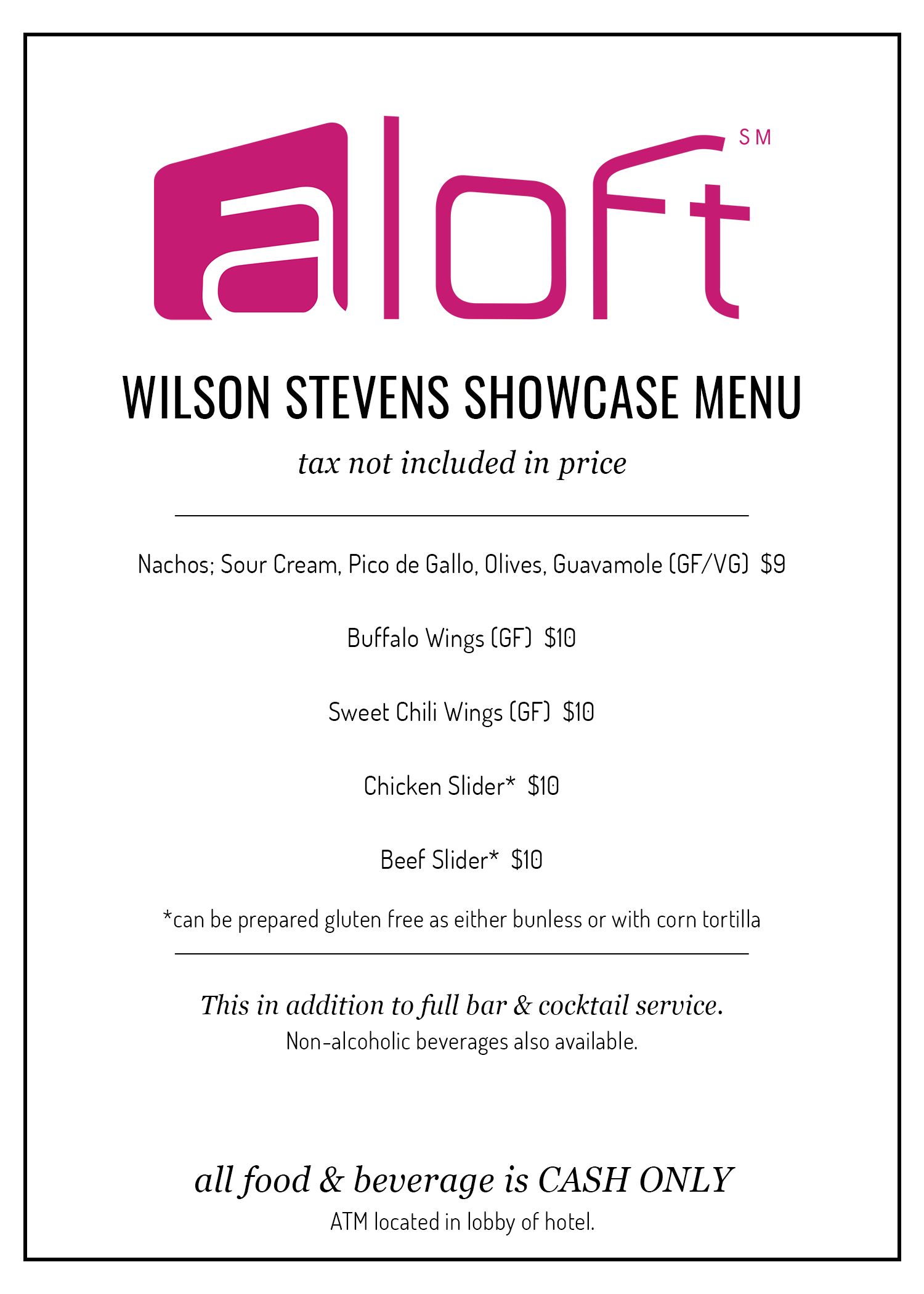 WSxAloft Showcase Menu