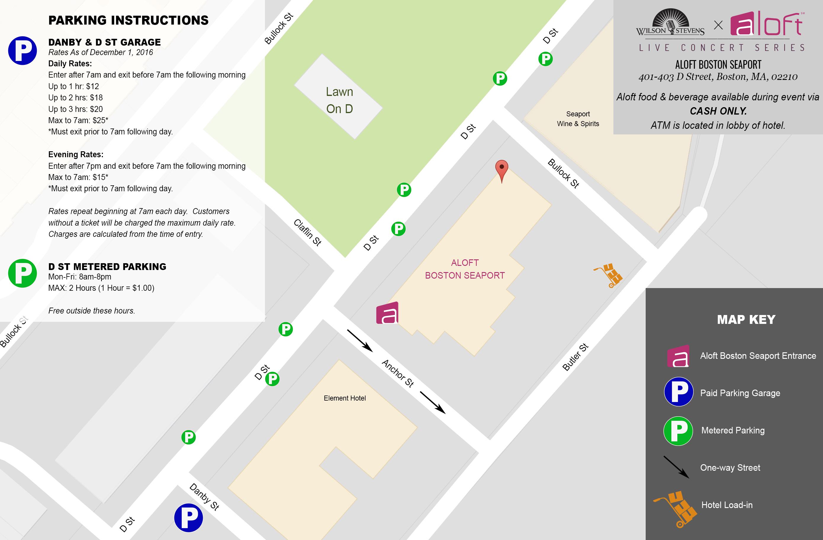 WSXAloft Showcase Parking Map for Bands